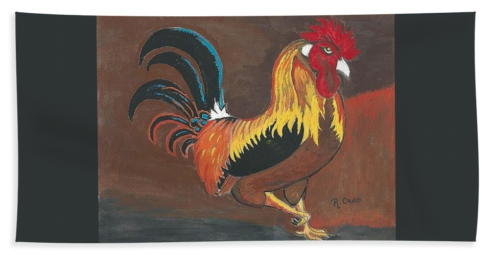 Roosters Bath Sheet featuring the painting Rooster#1 by Ruben Cano