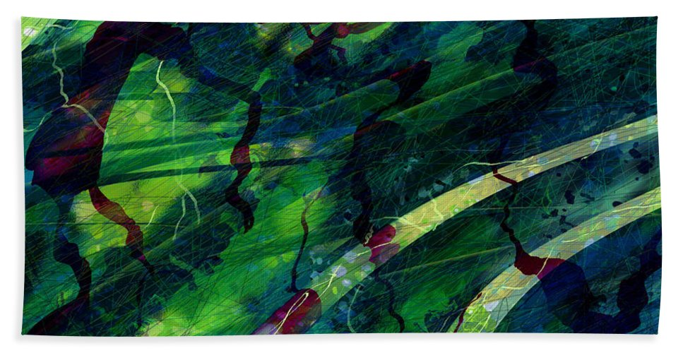 Abstract Bath Sheet featuring the digital art Root Canal by Rachel Christine Nowicki