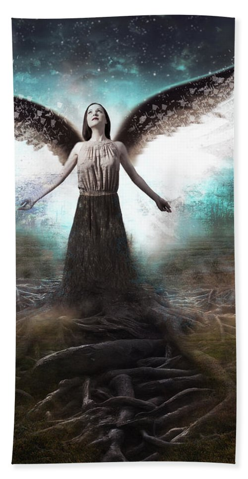 Forest Bath Sheet featuring the photograph Rooted Angel by Iamjustfresh
