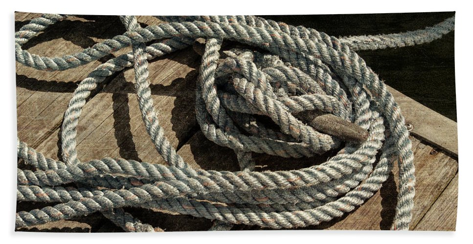 Guy Whiteley Photography Hand Towel featuring the photograph Rope On The Dock by Guy Whiteley