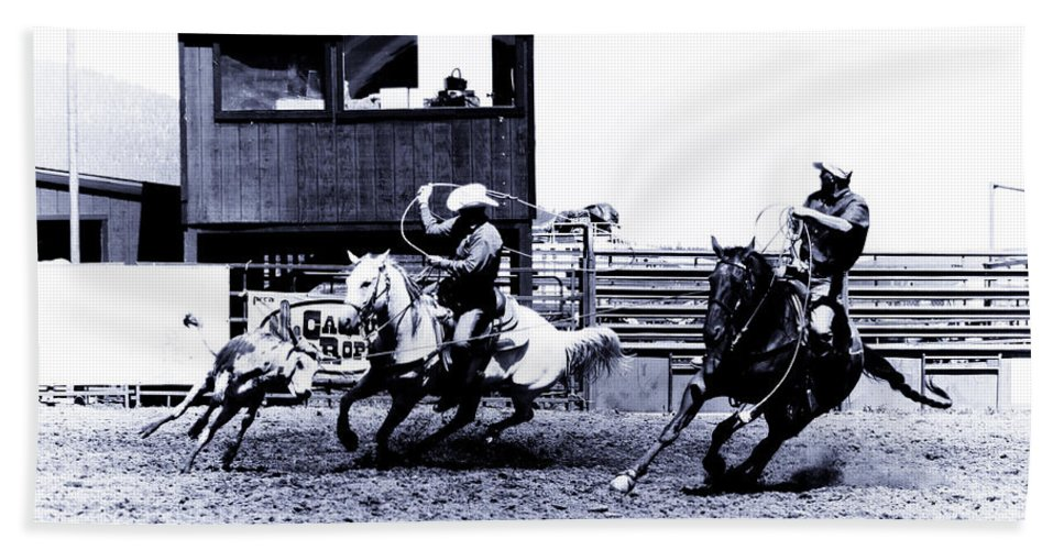Rodeo Bath Towel featuring the photograph Roping 1 by Scott Sawyer