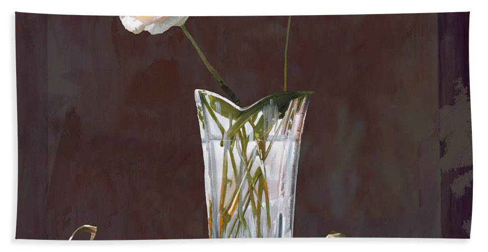 Rasa Hand Towel featuring the painting Rosa Rosae by Guido Borelli