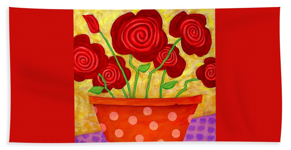 Modern Rose Hand Towel featuring the painting Rose-a-go-go by John Blake