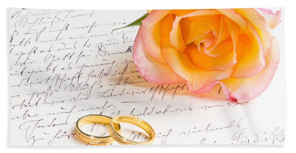 Alliance Bath Sheet featuring the photograph Rose And Two Rings Over Handwritten Letter by U Schade