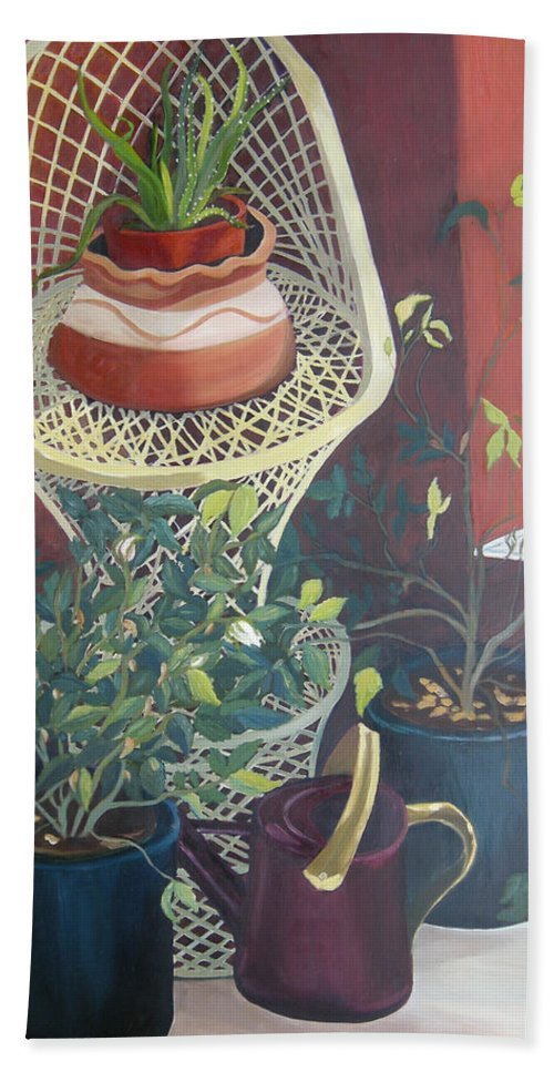 Still Life Bath Towel featuring the painting Rose Buds by Antoaneta Melnikova- Hillman