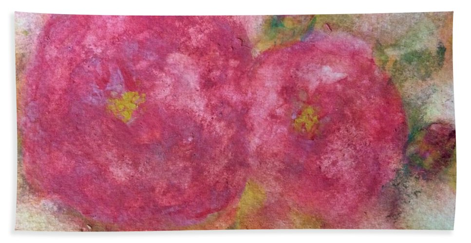 Roses Hand Towel featuring the painting Rose De L Arborete II by Aase Birkhaug
