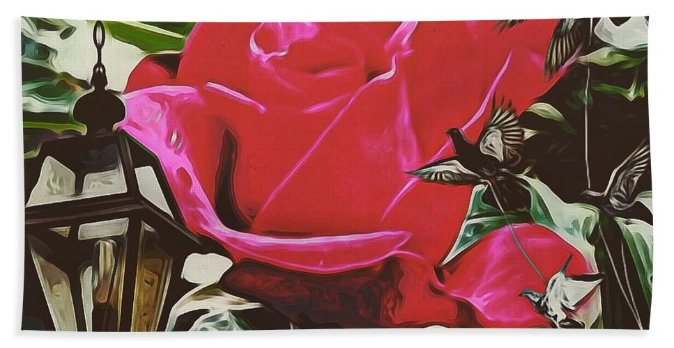 Rose Evening Bath Sheet featuring the photograph Rose Evening,oil by Olga Lyakh