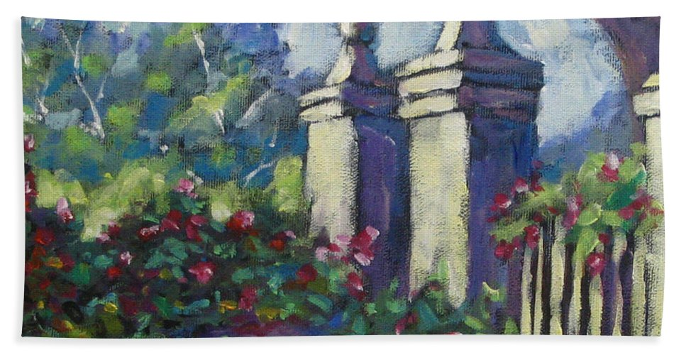 Rose Hand Towel featuring the painting Rose Garden by Richard T Pranke