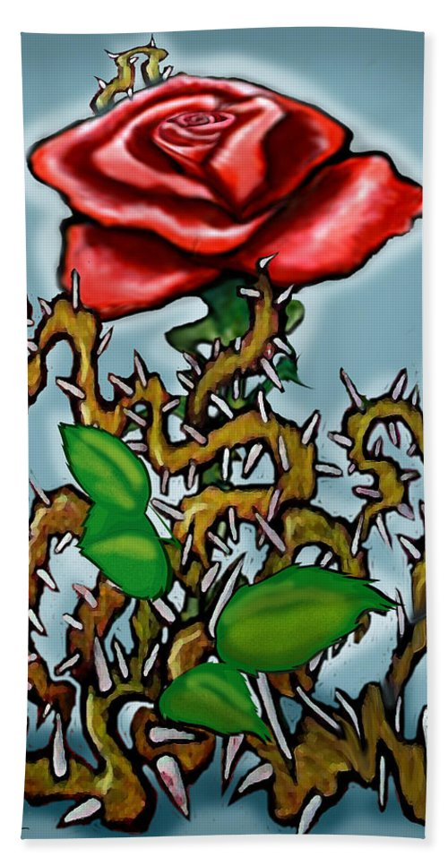 Rose Bath Sheet featuring the painting Rose N Thorns by Kevin Middleton