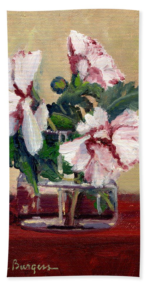 Impressionism Hand Towel featuring the painting Rose Of Sharon by Keith Burgess