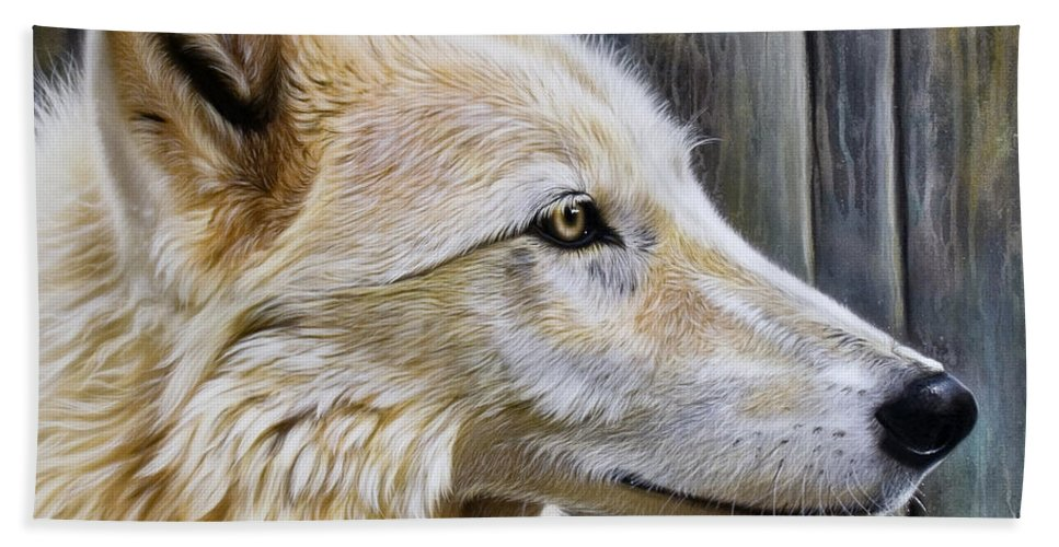 Wolves Bath Towel featuring the painting Rose by Sandi Baker