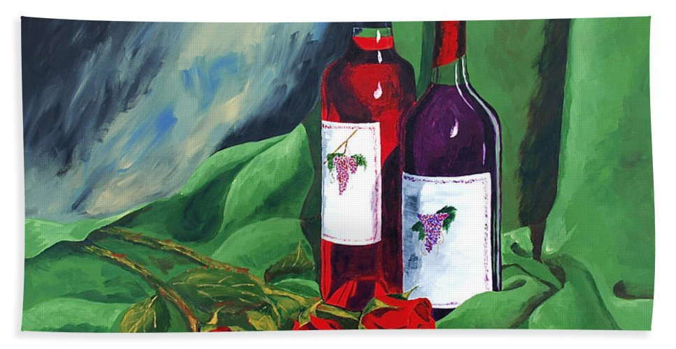Wine And Roses Red Roses Red Wine Still Life Bath Sheet featuring the painting Roses And Wine by Herschel Fall