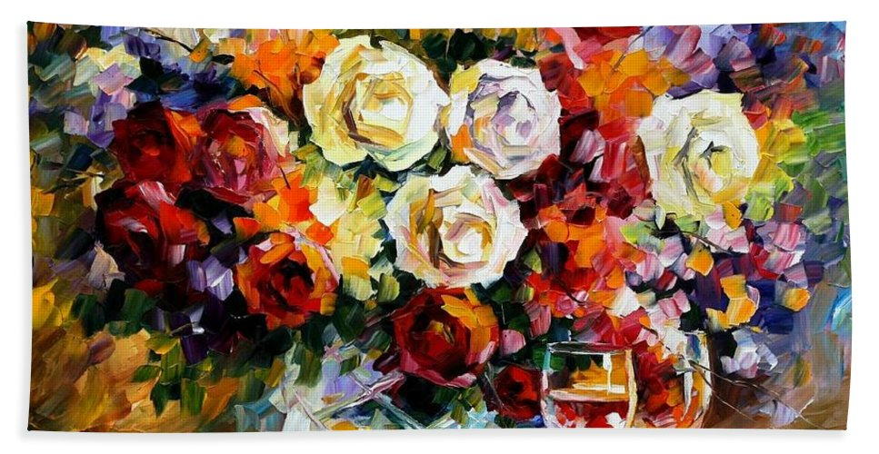 Still Life Bath Towel featuring the painting Roses And Wine by Leonid Afremov