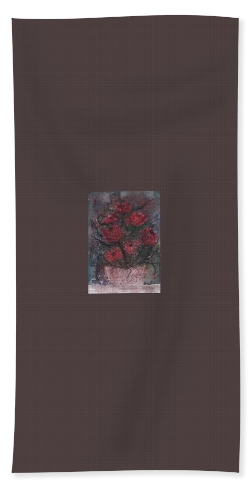Watercolor Bath Sheet featuring the painting Roses At Night Gothic Surreal Modern Painting Poster Print by Derek Mccrea