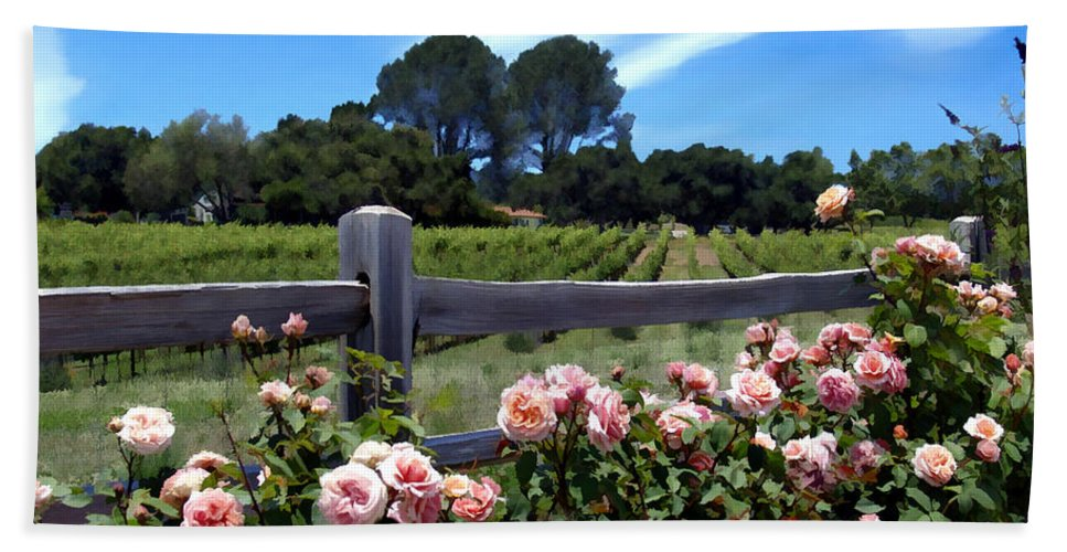 Flowers Bath Towel featuring the photograph Roses At Rusack Vineyards by Kurt Van Wagner