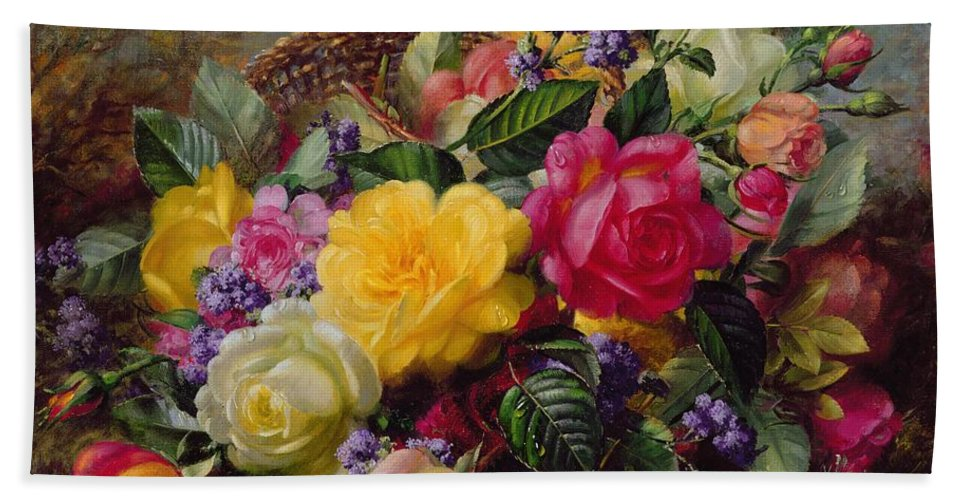 Rose; Flower; Reflection; Flowers; Pink; Yellow; White; Roses; Basket; Water; Grass; Grassy; Grassy Bank; Pond Bath Towel featuring the painting Roses by a Pond on a Grassy Bank by Albert Williams