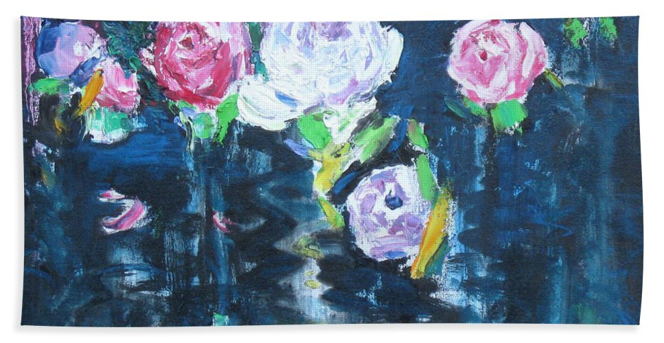 Rose Hand Towel featuring the painting Roses by Guanyu Shi