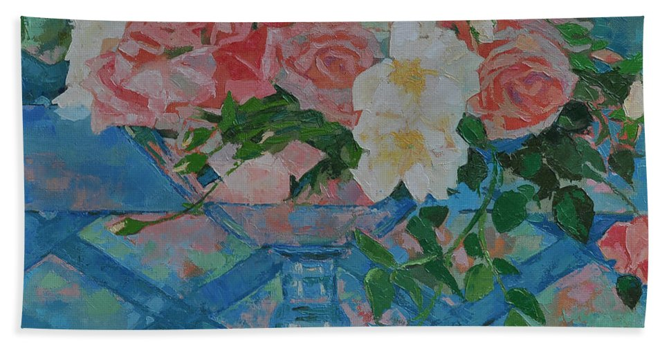 Roses Hand Towel featuring the painting Roses by Iliyan Bozhanov