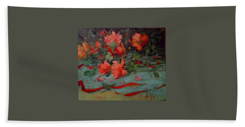 Rose Hand Towel featuring the painting Roses by Margaret Aycock