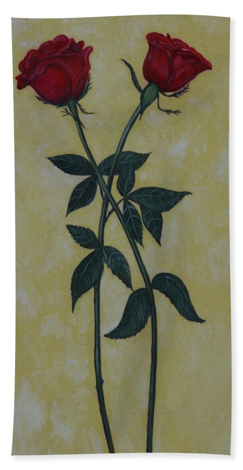 Long Hand Towel featuring the painting Long Stem Roses by PJ Wetak