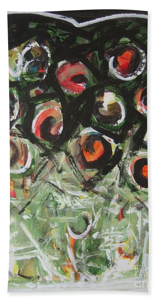 Abstract Painting Hand Towel featuring the painting Roses by Seon-Jeong Kim
