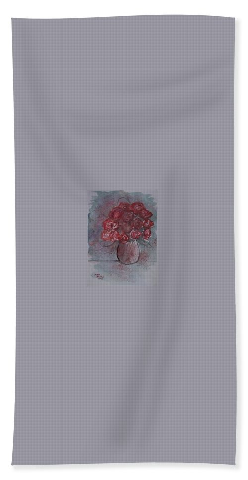 Watercolor Hand Towel featuring the painting Roses Still Life Watercolor Floral Painting Poster Print by Derek Mccrea
