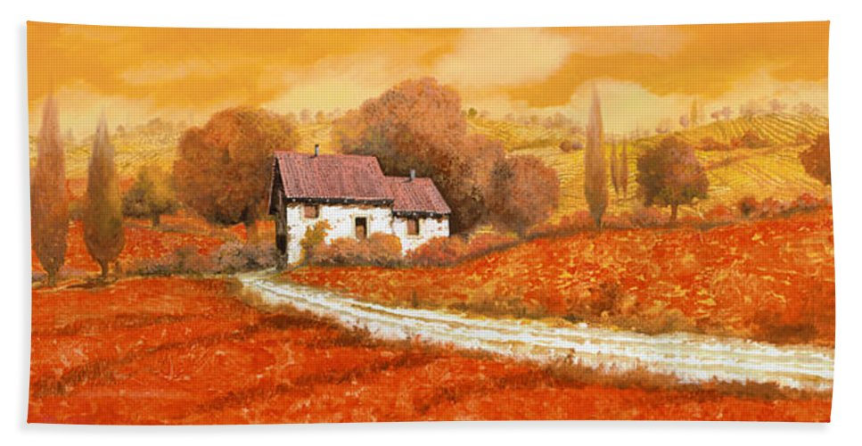 Tuscany Bath Towel featuring the painting I papaveri rossi by Guido Borelli