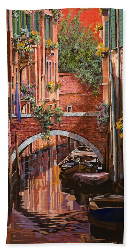 Venice Bath Sheet featuring the painting Rosso Veneziano by Guido Borelli