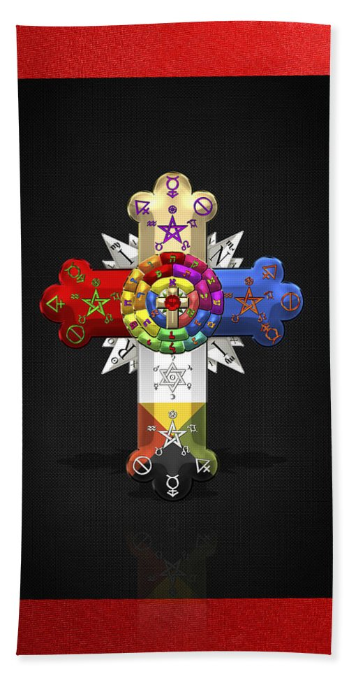 Ancient Brotherhoods Collection By Serge Averbukh Hand Towel featuring the photograph Rosy Cross - Rose Croix by Serge Averbukh