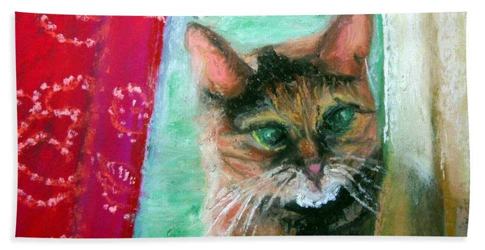 Cat Hand Towel featuring the painting Rosy In Color by Minaz Jantz