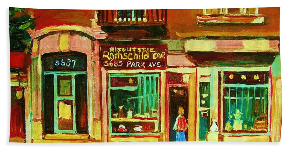 Montreal Bath Towel featuring the painting Rothchilds Jewellers On Park Avenue by Carole Spandau