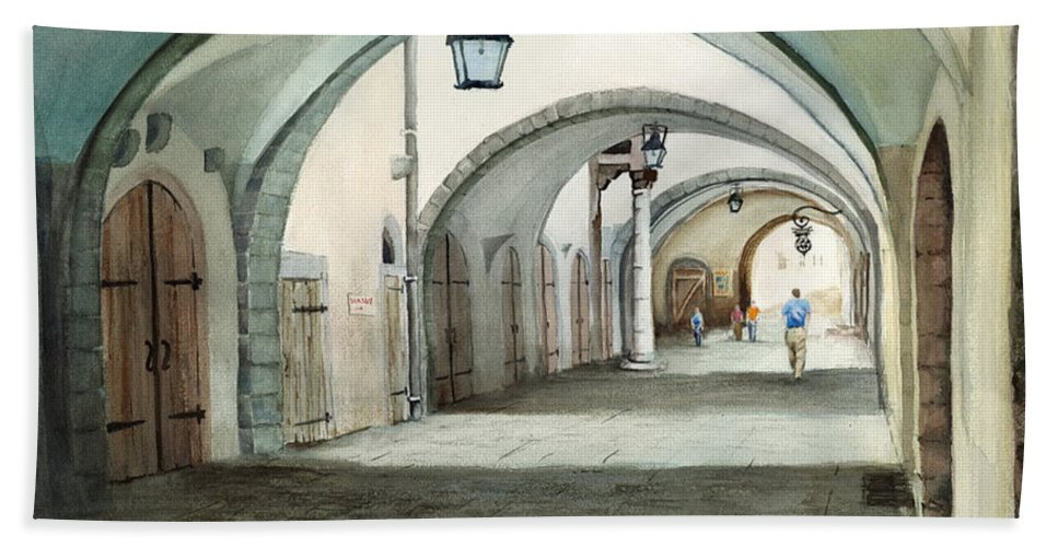 Germany Bath Sheet featuring the painting Rothenburg Backstreet by Sam Sidders