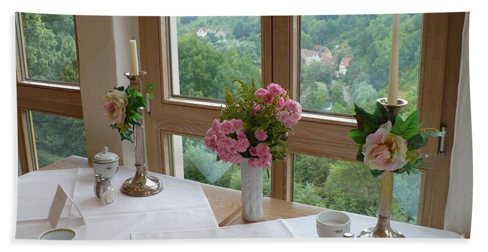 Rothenburg Bath Towel featuring the photograph Rothenburg Dining With A View by Carol Groenen