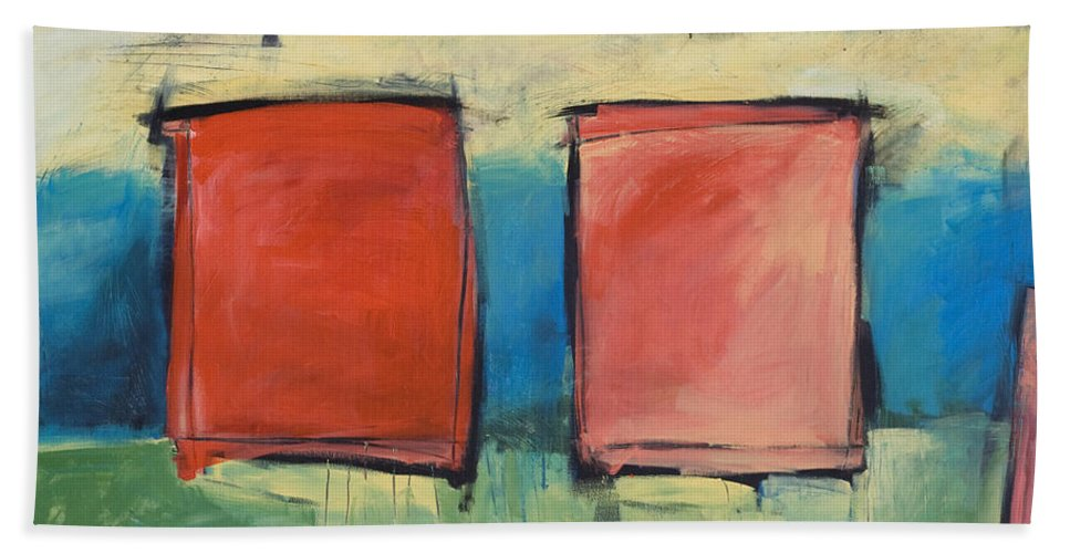 Rothko Bath Towel featuring the painting Rothko Meets Hitchcock by Tim Nyberg