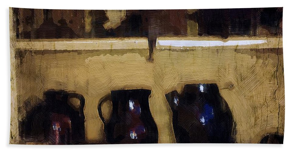 Antiques Hand Towel featuring the painting Rough And Rustic by RC DeWinter
