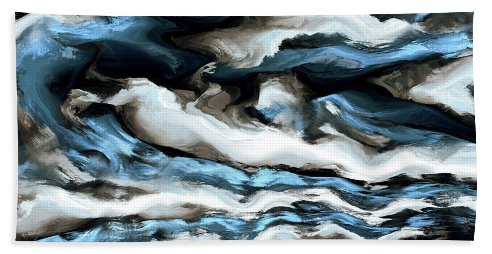 Fine Art Hand Towel featuring the digital art Rough Sea by Kevin Trow