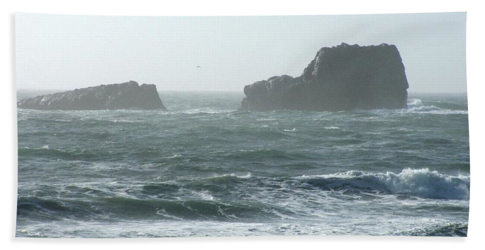 Oceanes Bath Sheet featuring the photograph Rough Waters by Shari Chavira
