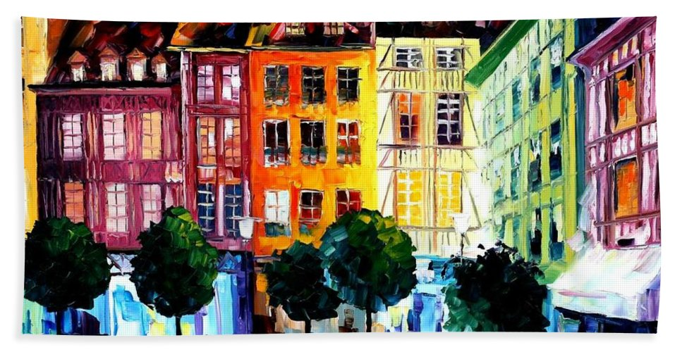 Afremov Hand Towel featuring the painting Rouin France by Leonid Afremov