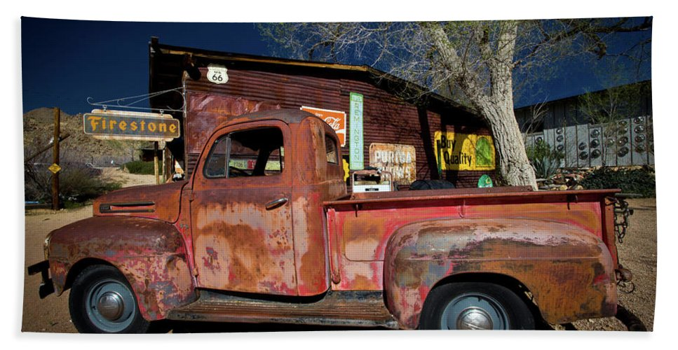 Notice Bath Sheet featuring the photograph Route 66-61 by Avril Christophe