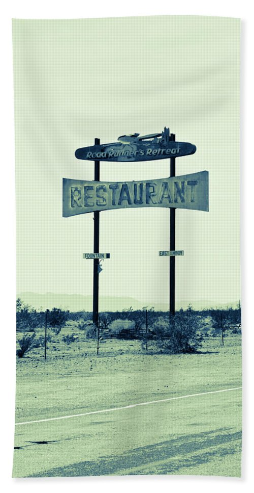 Notice Bath Sheet featuring the photograph Route 66-80 by Avril Christophe