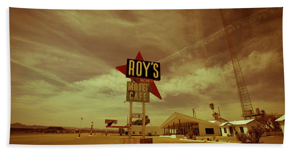 Notice Bath Sheet featuring the photograph Route 66-82 by Avril Christophe