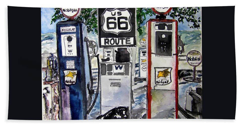 Route 66 Hand Towel featuring the painting Route 66 by Derek Mccrea