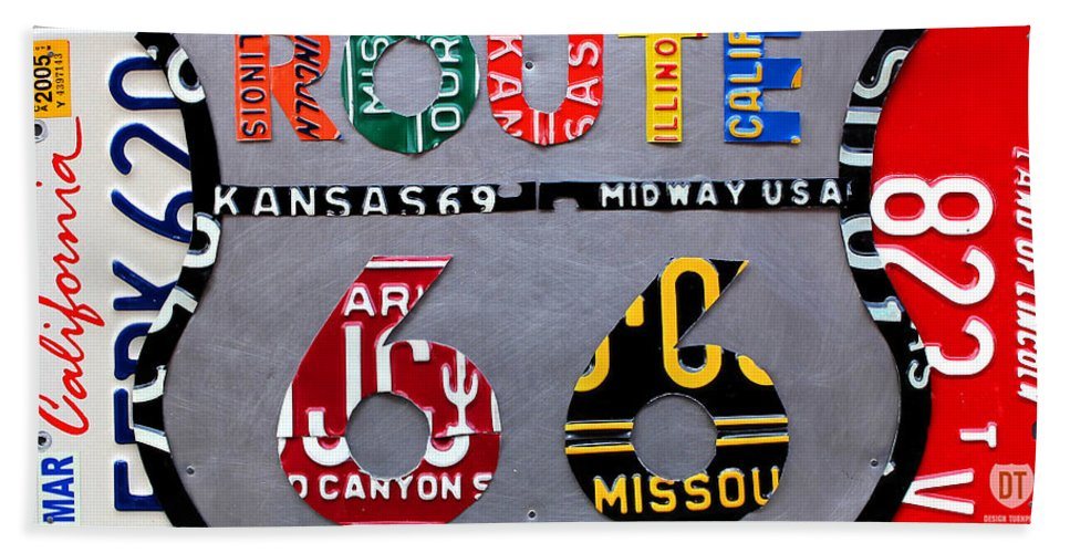 Route 66 Highway Road Sign License Plate Art Travel License Plate Map Hand Towel featuring the mixed media Route 66 Highway Road Sign License Plate Art by Design Turnpike
