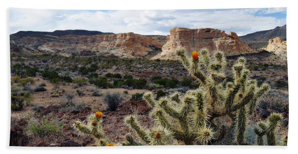 Route 66 Hand Towel featuring the photograph Route 66 Mojave Desert Landscape by Kyle Hanson