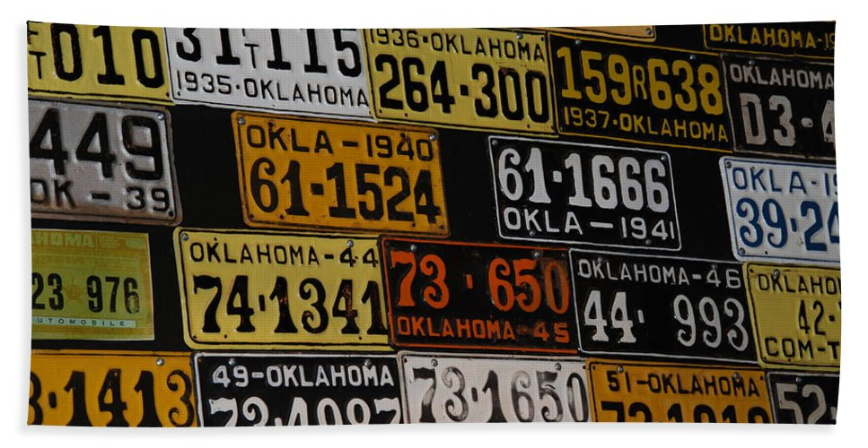 Route 66 Bath Sheet featuring the photograph Route 66 Oklahoma Car Tags by Susanne Van Hulst