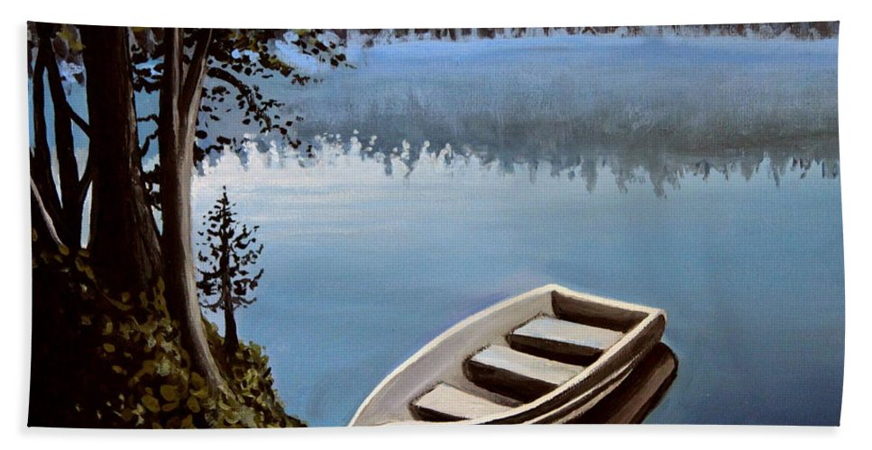 Landscape Bath Sheet featuring the painting Row Boat In The Fog by Elizabeth Robinette Tyndall