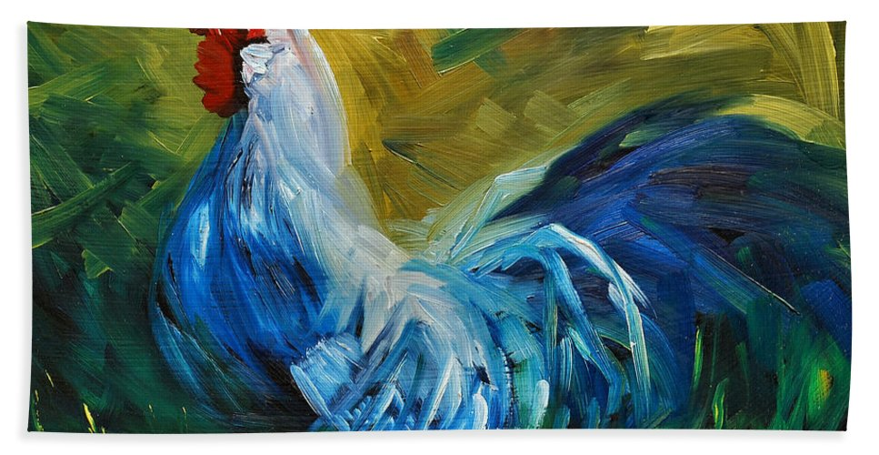 Rooster Bath Towel featuring the painting Rowdy Rooster by Diane Whitehead