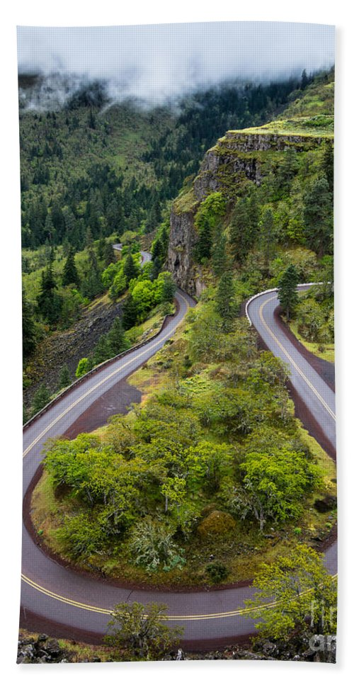 Rowena Hand Towel featuring the photograph Rowena Crest Loops - Oregon by Gary Whitton
