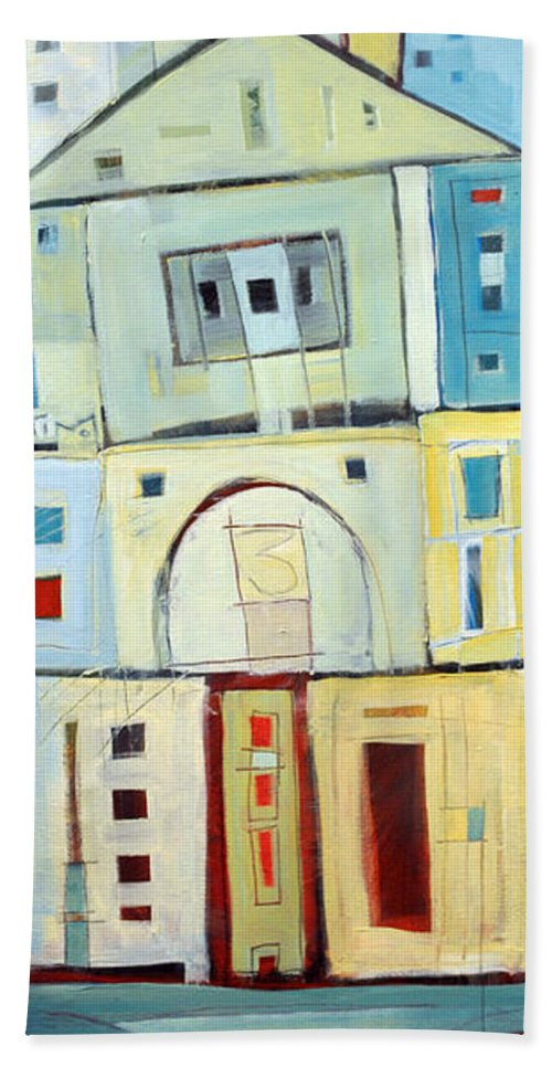 House Bath Sheet featuring the painting Rowhouse No. 3 by Tim Nyberg