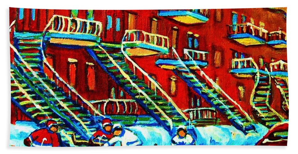 Hockey Bath Towel featuring the painting Rowhouses And Hockey by Carole Spandau
